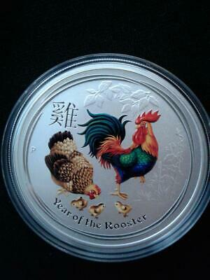 2017 1oz .9999 Fine Silver Australia Year of the Rooster Colored Silver