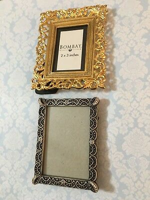 LOT OF 2 Mini Frames Bombay Ornate Baroque & Pewter w Rhinestone Accents  Bling