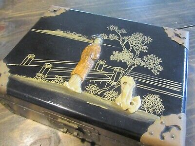 Vintage Antique Chinese Jewelry Box Brass Wood Gold Silk Beautiful Old Shoushan