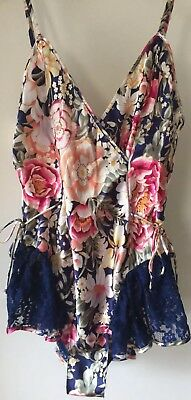 Victoria's Secret Vintage Floral Skirted Satin Teddy Body Romper Lingerie Small