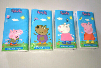 PEPPA PIG 4 PACKS OF POCKET TISSUES 10-pk WHITE 3-ply GEORGE SUZY DANNY PUDDLES