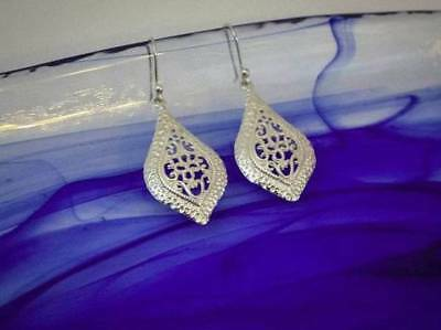 925 Taxco Mexican Silver Cut-Out Scroll Drop Earrings