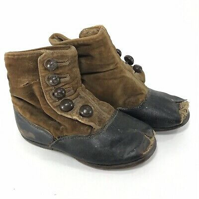 Vintage Antique Victorian Leather Baby Child's Doll High Top Side Button Shoes