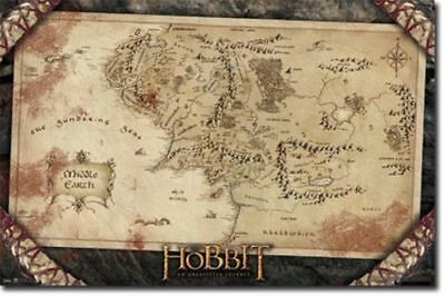 The Hobbit Movie Poster Map new factory sealed RP5809 22x34