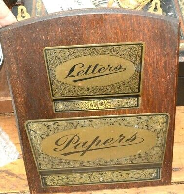 Edwardian letters and papers hanging wall rack oak and brass
