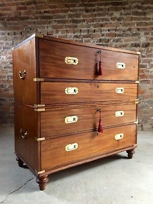 Gillows of Lancaster Campaign Chest of Drawers Secretaire Antique Circa 1850