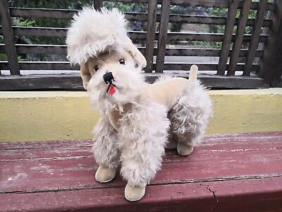 VTG STEIFF SNOBBY POODLE WITH RED COLLAR, GLASS EYES-JOINTED-NO ID's OR BUTTON