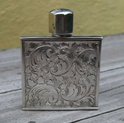 Vtg Square Shape Snuff - Perfume Bottle 935 Sterling Silver Engraved Signed D.k.