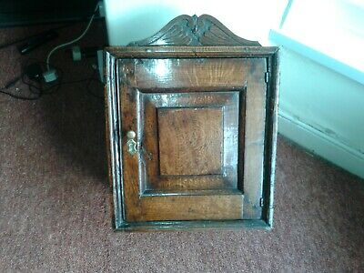 early antique welsh oak spice cupboard, lovely patina 18 inch high
