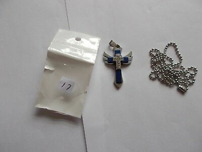 Unisex mens or womans silver blue titanium steel cross & necklace
