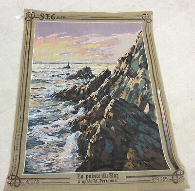 Canvas Tapestry Embroidery Cross Stitch Sewing La pointe du Raz Cliffs Sea Water
