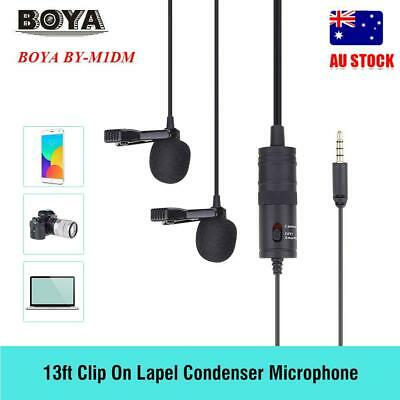 Boya BY-M1DM Dual Lavalier Head Lapel Microphone for Mobile Phone Cameras PC New