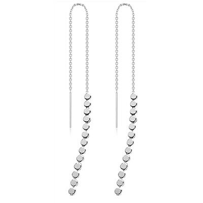 Solid 925 Sterling Silver Long Pull Through Threader Dangle Disc Dots Earrings