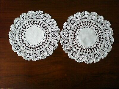 Beautiful Pair of Vintage Hand Crocheted Doileys, Linen Centres, Great Condition