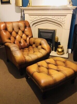 Designer Mark Webster Chesterfield Tan Leather Armchair And Footstool