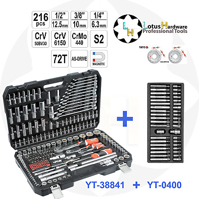"Ratchet Socket Set 1/2"" 3/8"" 1/4"" 216pcs + Bit Set 40pcs Yato YT-38841+YT-0400"