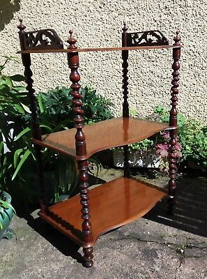 3 Tier What Not Victorian Stand Display Shelves Bookcase Turned Legs Antique