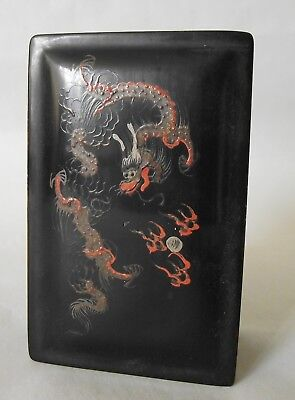 Chinese Foochow Chen Shao Black Lacquer Box Dragon Rectangular Vintage