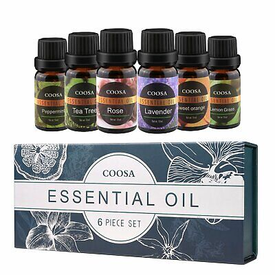 COOSA Essential Oils Gift Set 100% Natural for Diffuser & Humidifier 6 x 10mL
