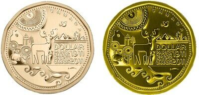 2011 Canadian Loonie 1 Regular and 1 Plated Gold 24 k