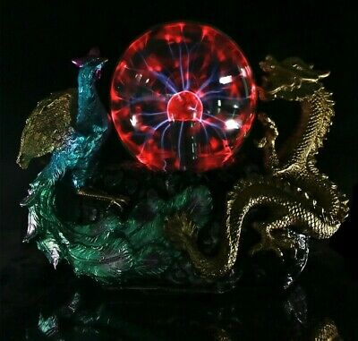 Vintage Dragon Phoenix Statue With Electric Glass Gothic Lighting Home Decor