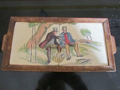 pair THYNNE Packard & Ord hand painted tiles, wood framed tray, fishing picnic