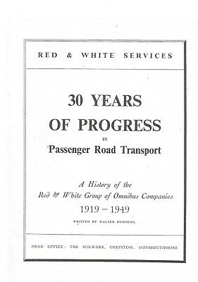 Red  & White Services 1919 - 1949 History of the Bus Company Bus Book Softback