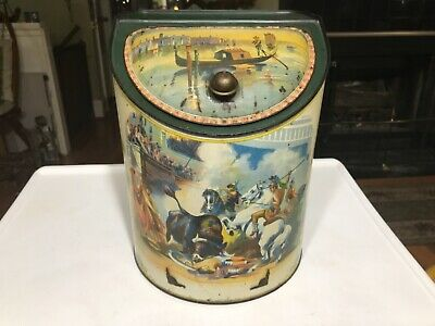 Antique Tea Canister With Gladiator & Bull Painting
