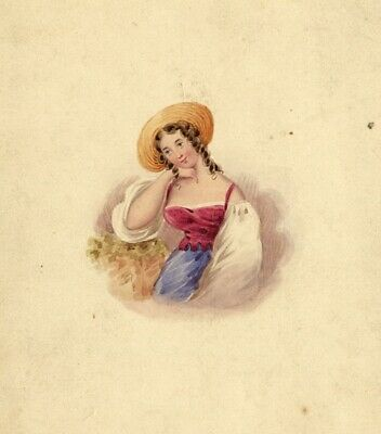 French Rustic Girl with Hat - Original 19th-century watercolour painting