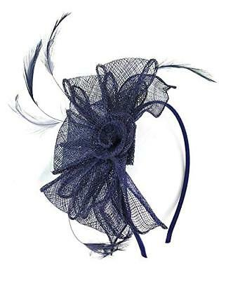 Dark Navy Hat Hair Fascinator with Feather - Headband Aliceband - Wedding Ascot