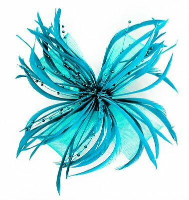 Aqua Blue Looped Mesh Feather & Pearl Bead Flower Hair Fascinator - on Clip
