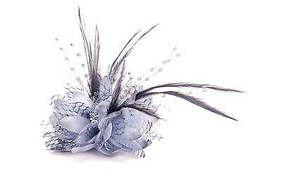 Grey Beaded Flower & Feather Hair Fascinator brooch pin, hair clip and elastic