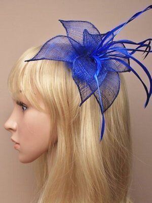 Royal Blue Sinamay Pointed Petals and Feathers Hair Fascinator - on Hair Clip