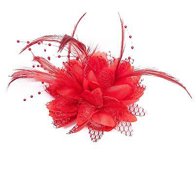 Red Flower Beaded & Feather Hair Fascinator - brooch pin hair clip hair elastic