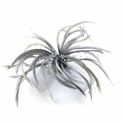 Silver Grey Looped Mesh Feather & Pearl Bead Flower Hair Fascinator - on Clip