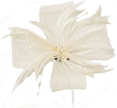 Cream Looped Mesh Feather & Pearl Bead Flower Hair Fascinator - on Clip 14x14cm