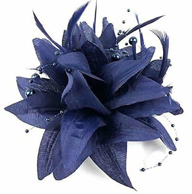 Navy Blue Flower Beaded Feather Hair Fascinator - Beak Clip Brooch Pin