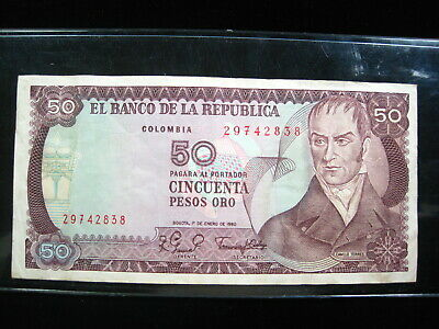 Colombia 2 Peso 1970s Bogota Colombian 02# World Currency Bank Money Banknote