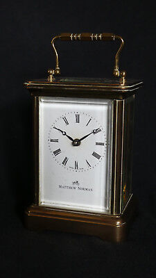 Classic Mathew Norman Brass 8 Day Carriage Clock Original Box and Documents