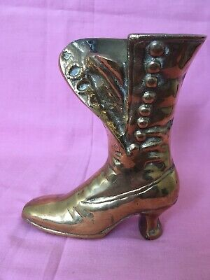 Heavy Solid Brass Vintage Ladies Victorian Boot Vase Collectible Ornament