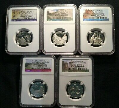 2019 S 5 COIN CLAD PROOF QUARTER SET ATB 25c EARLY RELEASES NGC PF70 Ultra Cameo