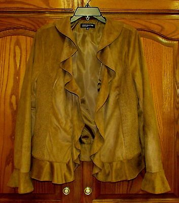 Jones New York Sz 14 Faux Suede (100% Polyester) Tan Zip Ft Lined Ruffle Jacket