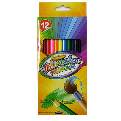 Watercolour Pencils - Pack of 12, Mixed Colours - by World of Colour
