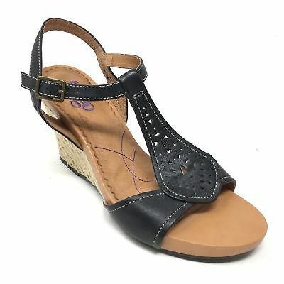 bb683accfc6 Women s Indigo by Clarks Sandals Shoe Size 10M Black Leather Slingback Wedge  AA3