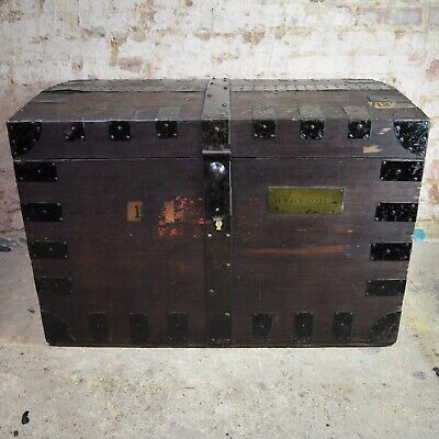 Victorian 19th Century Silver Merchant Trunk Chest Oak Metal Bound Storage Box