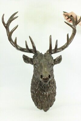 Stag Elk Deer Buck Hunter Sportsman Bronze Marble Wall Art Wildlife Art Figurine