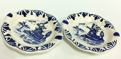 2 Vintage Blue & White Delft Hand Painted Windmill Small Plate Dish Holland Clog