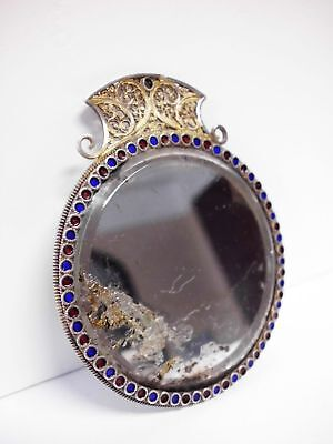 Spiegel-833 Silber filigran+Email-Chatelaine-solid silver filigree mirror-19th