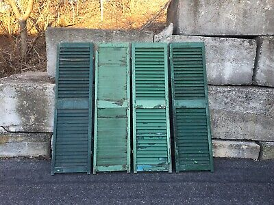 Antique Wooden Louvered Window Shutters Architectural Salvage Green Set of 4 58""