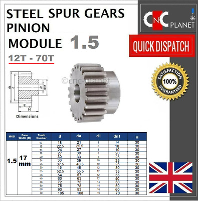 MODULE 1.5 17mm TOOTH FACE WIDTH EN8 STEEL SPUR GEAR PINION CNC PLASMA ROUTER UK